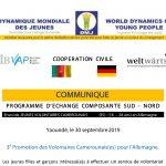 Lancement de la 3e promotion des volontaires Sud-Nord du Programme Weltwärts en Allemagne