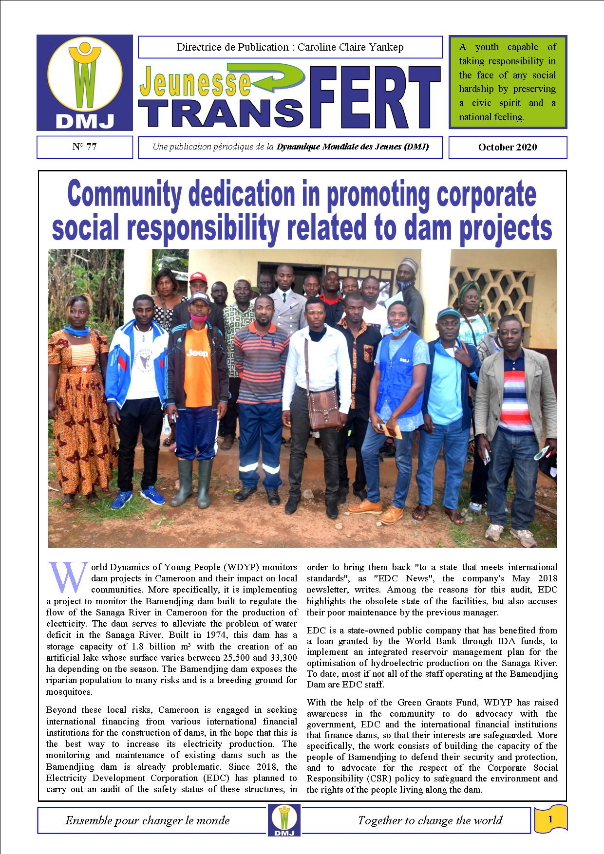 Transfert N°77 _Community dedication in promoting corporate social responsibility related to dam projects _October 2020